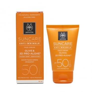 Apivita Suncare Anti-Wrinkle Face Cream SPF50 With Olive & 3D Pro-Algae 50ml