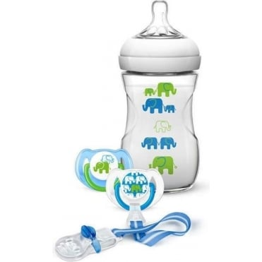 Gift Set 1 Natural Feeding Bottle 260ml, 2 Pacifiers, 1 Pacifier Clip, Blue /Green