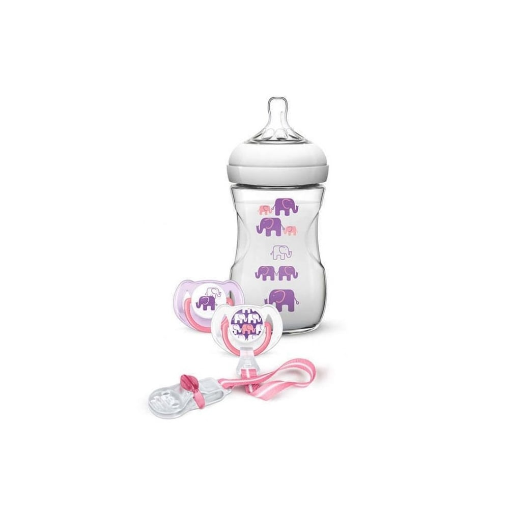 Avent Gift Set 1 Natural Feeding Bottle 260ml 2 Pacifiers Philips Baby Newborn Pacifier Clip Pink