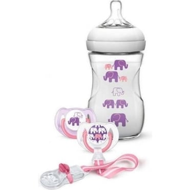 Gift Set 1 Natural Feeding Bottle 260ml, 2 Pacifiers, 1 Pacifier Clip, Pink/Purple