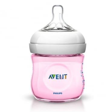 Natural Plastic Baby Bottle Pink 125ml