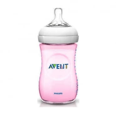 Natural Plastic Baby Bottle Pink 260ml