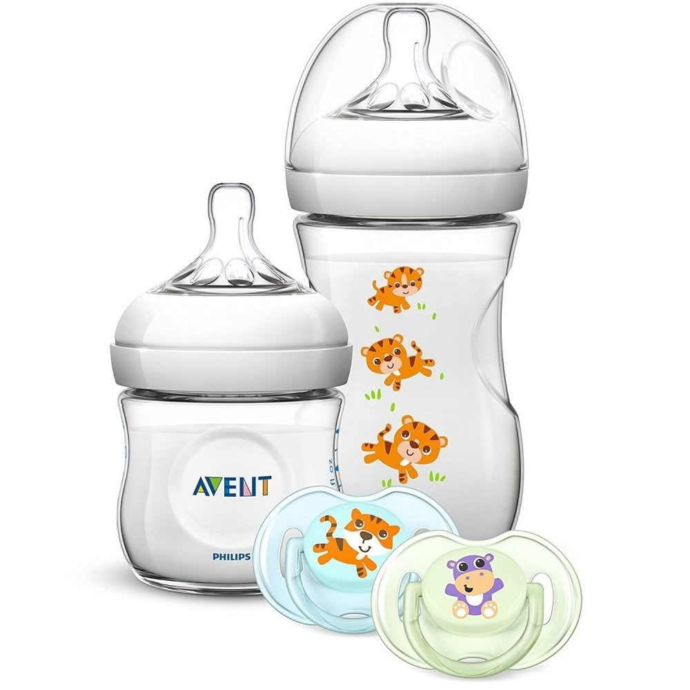 Avent Natural Tiger Hippo Newborn Bottle Soother Set 4pcs Philips Gift Baby Amp