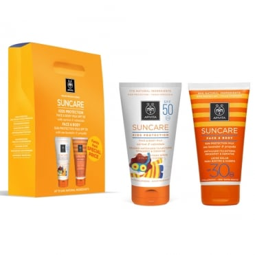 Face & Body Milk For Kids SPF50 With Apricot & Calendula 150ml & Apivita Sunscreen Face & Body Milk SPF30 With Sea Lavender & Propolis 150ml
