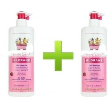 Petit Junior Shower Gel for Body and Hair with Raspberry Scent 2x500ml