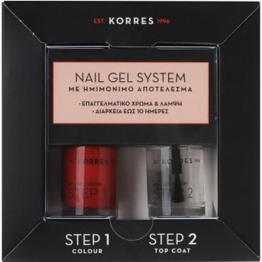 Nail Gel System Classic Red Nail Polish For Semipermanent Result 2x10ml