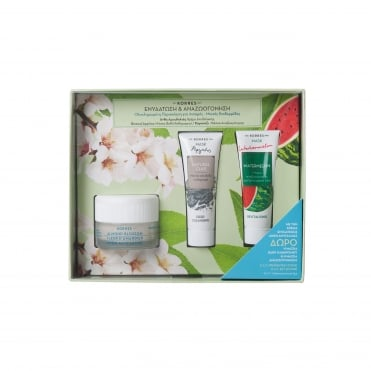 Set Moisturising Almond Blossom Cream Oily/Combination Skin 40ml & FREE Natural Clay 18ml & Watermelon 18ml Masks