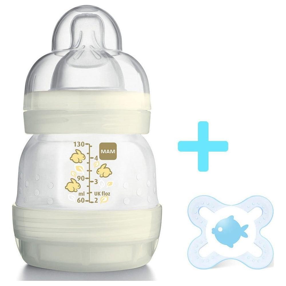 mam plastic anti colic feeding bottle 0m 130ml free start soother