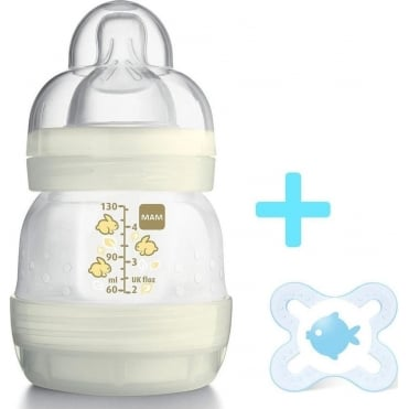 Plastic Anti Colic Feeding Bottle 0m+ 130ml & FREE Start Soother