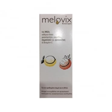 Melovix Herbal Syrup for Sore Throat and Cough with Lemon and Strawberry 200ml
